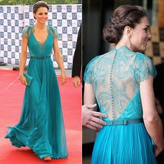 Jenny Packham emerald evening gown and silver Jimmy Choo shoes.
