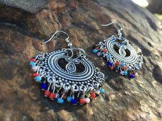 Boho Earrings Candelier Beaded by StudioForty on Etsy