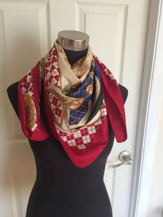 Vintage Large Square Equestrian Scarf in Red by ChrisTineDecor