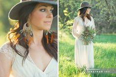Boho Bride wearing dream catcher earrings and hippie hat and wildflower bouquet #boho #bride