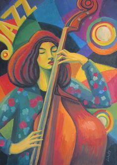 Una interpretación pictórica de Esperanza Spalding, la gran intérprete de Jazz. Gouache sobre cartón, 75x52 cm Año 2020