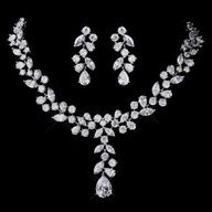 Glamorous Silver Plated CZ Necklace and Earring Wedding Jewelry Set - Affordable Elegance Bridal - Bridesmaid Jewelry Sets, Wedding Jewelry Sets, Wedding Accessories, Jewelry Accessories, Nice Jewelry, Prom Jewelry, Bridal Jewellery, Trendy Jewelry, Wedding Earrings
