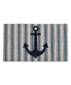 Look at this #zulilyfind! Blue Stripe Anchor Doormat #zulilyfinds