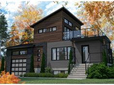 Two-Story Contemporary House Plan Narrow Lot House Plans, Family House Plans, Best House Plans, Contemporary House Plans, Modern House Plans, Modern Houses, Duplex House Plans, House Floor Plans, Build Your Dream Home