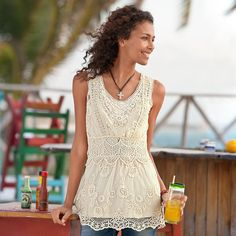 """GABRIELLA LACE TUNIC--Ethereal lace mesh, embroidered all around, comes with a camisole. Cotton/nylon. Dry clean. Imported. Sizes 2 to 16. Approx. 29-1/2""""L."""