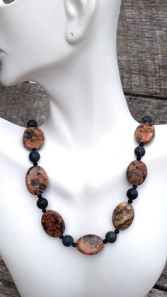 statement bead and stone necklace