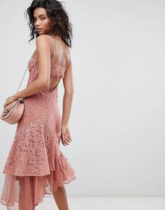 ASOS DESIGN Mix & Match Lace & Dobby Cami Dress | ASOS Lace Insert, Dobby, Mix Match, Cami, Ruffles, Fitness Models, Fashion Online, Latest Trends