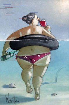Message in a bottle, keeping me afloat Art Painting, Curvy Art, Plus Size Art, Art Drawings, Female Art, Whimsical Art, Illustration Art, Funny Art, Beach Art