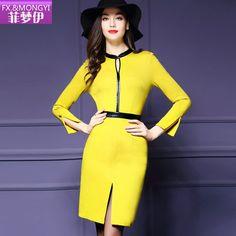 菲梦伊2016春装新款女装长袖中裙包臀开叉打底修身纯色简约连衣裙