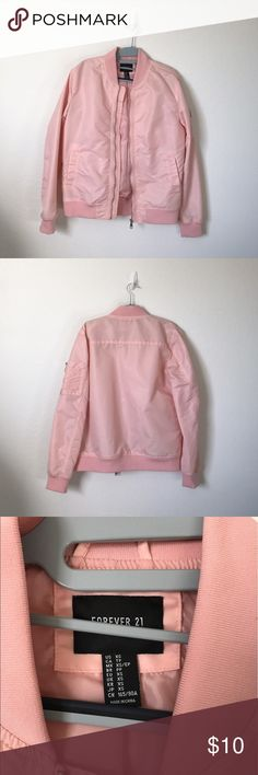 FOREVER 21 Men Pastel Pink Bomber Jacket Adorable jacket from FOREVER 21. Fell in love with the design but never really got to wear it because of the weather. In excellent condition! Men size XS, fits up to women L. ❗️Just know that this jacket is 100% made out of nylon and polyester, so it creates a bit of a zzzz-ing noise whenever brushed against. Forever 21 Jackets & Coats Bomber & Varsity