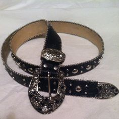 Belt Black, patent, rhinestone belt with silver buckle. Accessories Belts