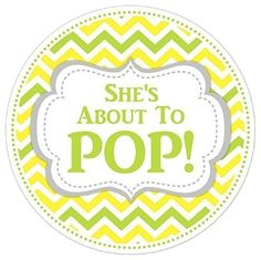 36 Baby Shower Labels, She's About to Pop stickers, Green and Yellow Chevron Stickers - About to POP Labels * Read more reviews of the product by visiting the link on the image.