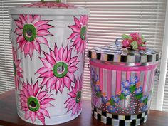 Hand Painted Galvanized Cans krystasinthepointe - ETSY