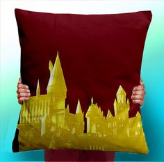 This pillow, I am in dire need of this pillow! Several of them actually, one each in the colours of each House