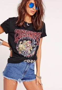 Guns N Roses Skeleton Slogan T-Shirt Black