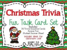 FREEBIE!  Christmas Trivia Task Card Set - Perfect for classroom parties and quick moments of holiday fun with your students!  LOVE this!  FREE!