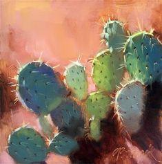 """Daily Paintworks - """"Desert Sun"""" - Original Fine Art for Sale - © Candace Brancik Cactus Art, Cactus Flower, Desert Sun, Fine Art Auctions, Dream Decor, Cacti And Succulents, Fine Art Gallery, Art For Sale, Landscape"""
