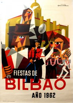 Bilbao 1962 Basque Coast Original vintage travel advertising poster - Fiestas de Bilbao ano 1962 - Bilbao Festival, 1962. Colourful stylised image of folk dancers and musicians, people in fancy dress costume, horses and an old building.