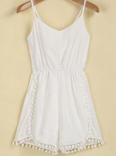 White Spaghetti Strap Twisted Ball Jumpsuit 18.33 Get 20% off your first order! http://www.sheinside.com/invite.php?token=UNbfKJzvOCytUWnlSV4B