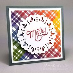 Plaid Background Stamp by Catherine Pooler Designs – Catherine Pooler, LLC Christmas Cards To Make, Christmas Tag, Christmas Colors, Holiday Cards, Rainbow Card, Rainbow Colors, Paradise Found, Handmade Tags, Craft Club
