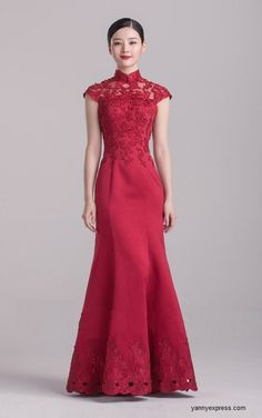 Chinese Wedding Gown Modified Cheongsam Prom / Homecoming Dress