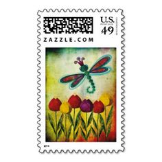Dragonfly Over Tulips Postage Stamp