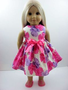 e16fccae356 Ivoryl Floral Doll Dress for the American Girl Doll Baby Doll Clothes