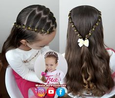 Encantador Elegante This is a good hairstyle that your daughter can wear for a few days in . Elegante This is a good hairstyle that y. Easy Little Girl Hairstyles, Girls Hairdos, Baby Girl Hairstyles, Girls Braids, Cool Hairstyles, Girl Haircuts, Wedding Hairstyles, Baby Hair Dos, Toddler Hair Dos