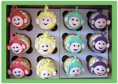 Tellytubby cupcakes to complete the theme