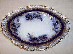 ~RARE~ Antique William Alsager Adderley Flow Blue & Gilded Plate c1876-1905 Rare Antique, Flow, Plates, Antiques, Licence Plates, Antiquities, Dishes, Antique