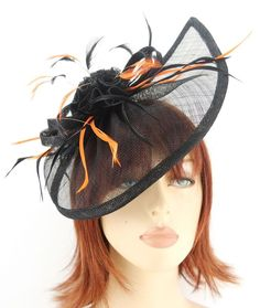 Black Sinamay Gathered Tear Drop Shaped Hair Fascinator with Orange Feathers  EBFAS-002 £29.50 free pp