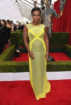 Pin for Later: The Fashion Choices at the SAG Awards Deserve 5 Stars Uzo Aduba Uzo Aduba was a vision in a long yellow Angel Sanchez gown and Forevermark jewels.