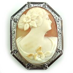 Antique Art Deco 14K White Gold and Shell Cameo Pendant Pin Filigree. Check out more antique and vintage jewelry at Regalities.com, or visit the following link to view this item: http://regalities.com/product/antique-art-deco-14k-white-gold-and-shell-cameo-pendant-pin-filigree/