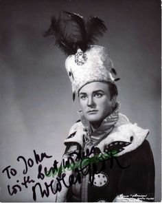 Swedish-born tenor (b.1925), well known and appreciated for his many recordings. Signed photo, shown in Pique Dame, 8x10 inches, inscribed.