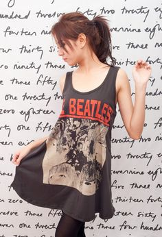 THE BEATLES T Shirt Dress Revolver UK Rock Women Black Tunic T-Shirt Top Vest Mini Dresses Size M L @Julia Dimas