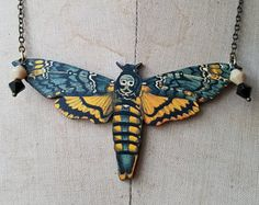 Death's Head Moth Pendant Black Yellow Butterfly Necklace