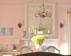 """""""Pink Cloud"""" Benjamin Moore paint - for my Girly Room Benjamin Moore Pink, Pink Dining Rooms, Old Country Houses, Pink Home Decor, Pink Room, Pink Clouds, Pink Houses, Pink Walls, Beautiful Homes"""