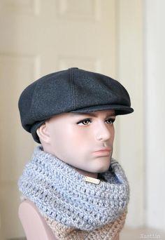 Blueish grey newsboy hat Mens newsboy cap Women newsboy hat Gray wool hat  Peaky Blinders hat grey Ba. Newspaper Boy Hat 19c5553dd08a
