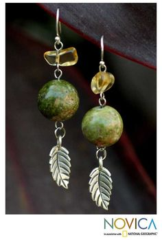 Jasper & citrine drop earrings, 'Cool Forest' at The Rainforest Site