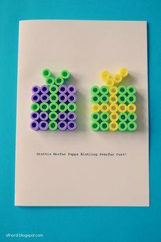 Mormorsglamour: Pärlat Grattiskort/Hama beads congratulation card