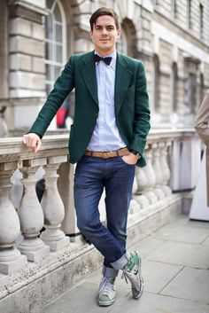 Casual, but a good touch with the bow tie.