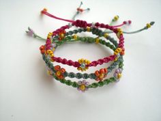 Items similar to Macrame bracelets Adjustable Friendship Beach Summer gift Party favors Colorful Flowers on Etsy, Diy Abschnitt, Hemp Jewelry, Jewelry Knots, Macrame Jewelry, Macrame Bracelets, Diy Jewelry, Macrame Knots, Chevron Friendship Bracelets, Beach Bracelets, Beaded Anklets