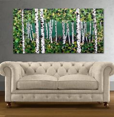 Birch Tree Painting, CLEARANCE Aspen Trees Absract Landscape, Wall Art,Palette Knife Green Forest Green Home Decor SALE Art by Susie Tiborcz