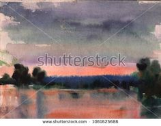 Watercolor lake landscape at sunset. lake in calm weather at sunset, hand drawn illustration, nature background