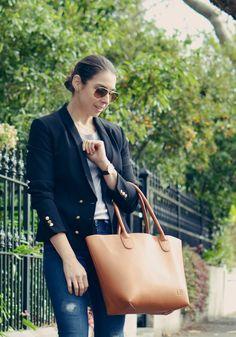 Michelle's Style File | Melbourne fashion blog | Australian style blog | classic outfit | Jeanswest jeans, prima denim | Louenhide tan tote | Versace black jacket, blazer | RayBan #michellesstylefile