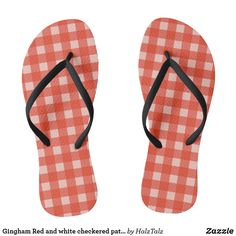Shop Gingham Red and white checkered pattern Flip Flops created by HalzTalz. Flip Flops Uk, Beach Flip Flops, Flip Flop Shoes, Red And White Kitchen, Womens Flip Flops, Beaded Flowers, Flipping, Gingham, Mens Fashion