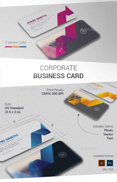 Corporate Business Card Template PSD, AI #visitcard #design Download: http://graphicriver.net/item/corporate-business-card/13189050?ref=ksioks