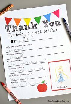 Thank You Teacher Printable