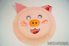 Schweine Maske selber basteln mit Kindern