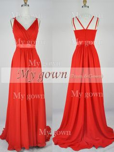 2014 Red Prom Dresses Straps Vneck Red Chiffon Prom by MyGown